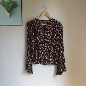 Zara floral bell sleeve blouse